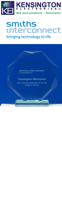 KENSINGTON ELECTRONICS, INC., NAMED 2017 AMERICAS DISTRIBUTOR OF THE YEAR FOR DESIGN-IN ACTIVITY